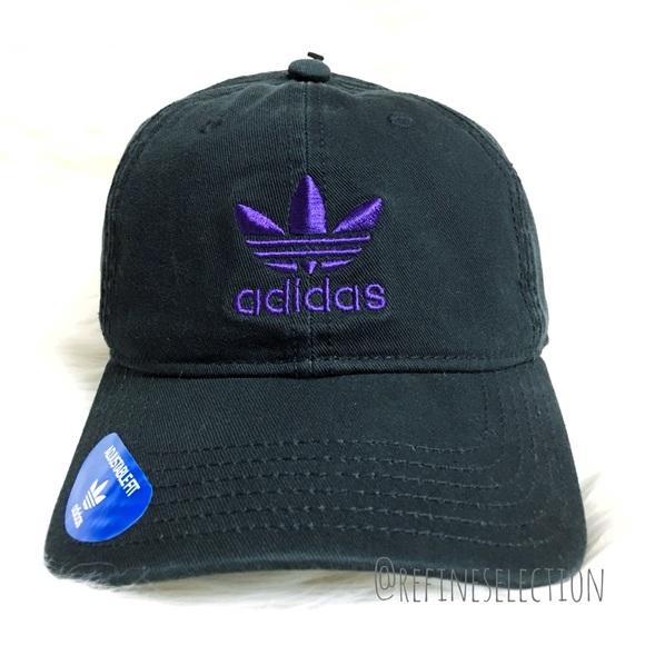 e926d97e24af0 adidas Originals Black Purple Strapback Dad Hat